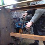 Reaming cylinder block bolt holes in 499's frames