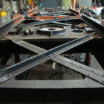 Bogie frames being stripped