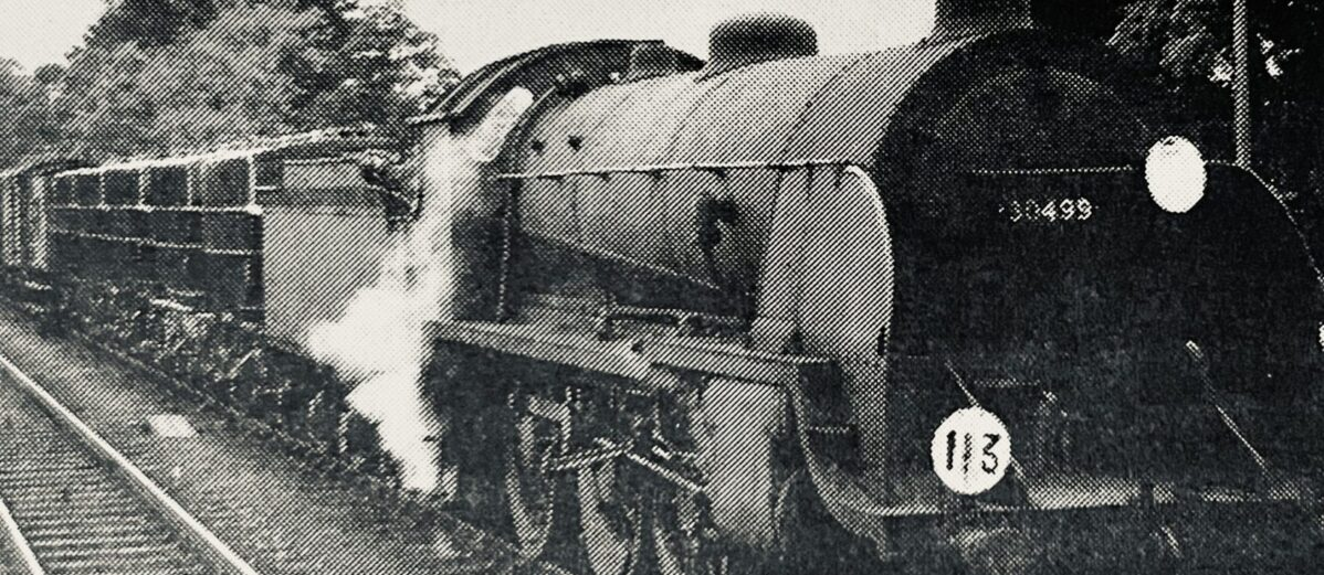 No. 30499 in the loop at Brockenhurst with an up goods on 27th September 1961.
